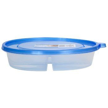 Round Plastic Divided Storage Container with Lid 415 oz Food