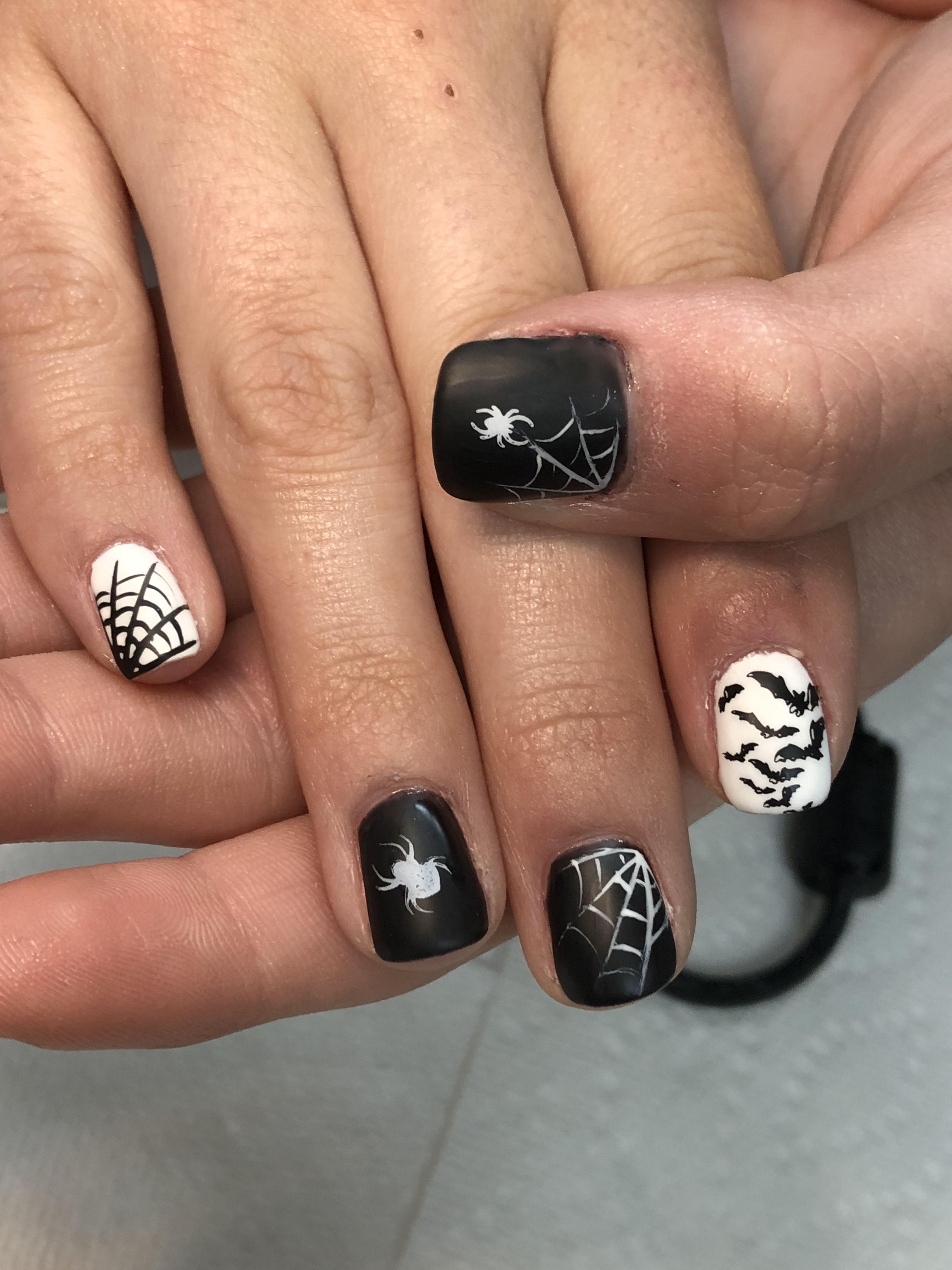 Halloween Nails!! Black & White Spiderweb, Spiders & Bats ...