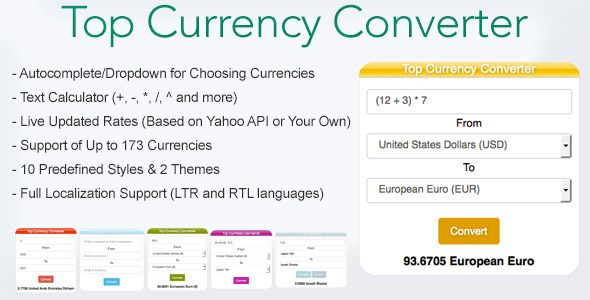 Top Currency Converter A Jquery Plugin That Creates Widget