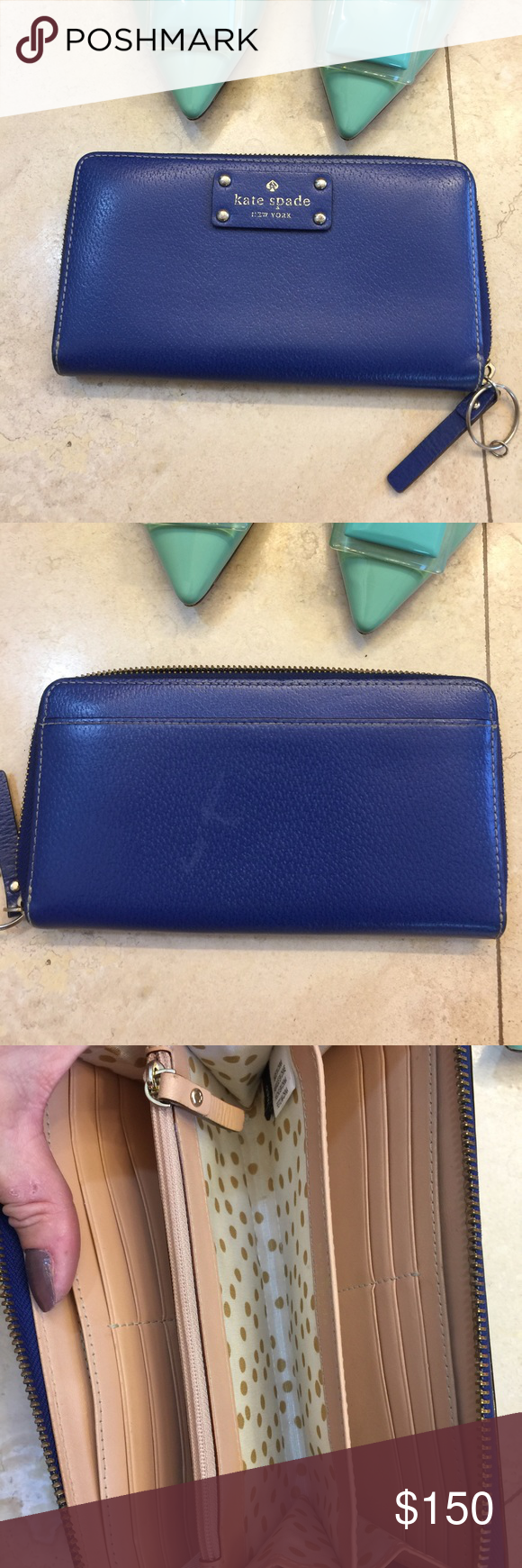 Kate Spade ♠️ electric blue Rainer Lane Lacy Kate Spade ♠️ electric blue full wallet !  There are 2 scratches on the back of wallet but not that bad or noticeable m kate spade Bags Wallets
