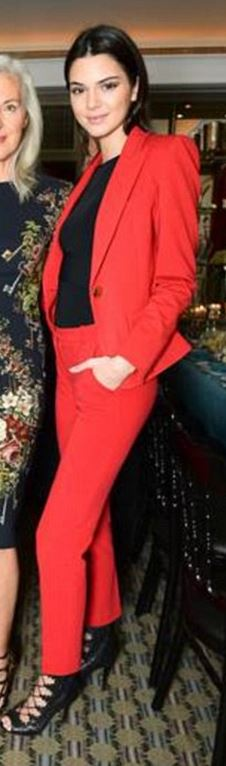 d1f5a97cdc8f Who made Kendall Jenner's red blazer and black lace up shoes ...