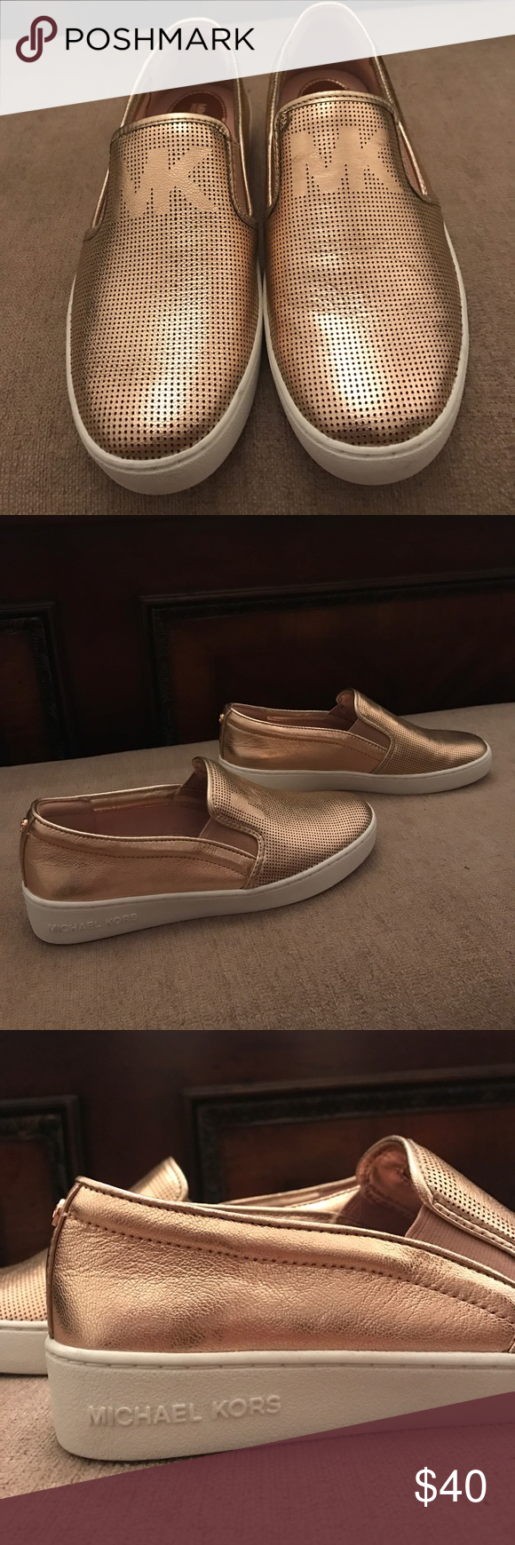 ae53988c622ca Michael kors slip on shoes Rose Gold Metallic accent Slip Ons. Fashion  Sneakers by Michael Michael Kors size 6 with a cushioned footbed.