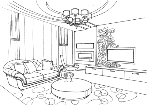 Living Room With Ornament Coloring Page From Interior Design