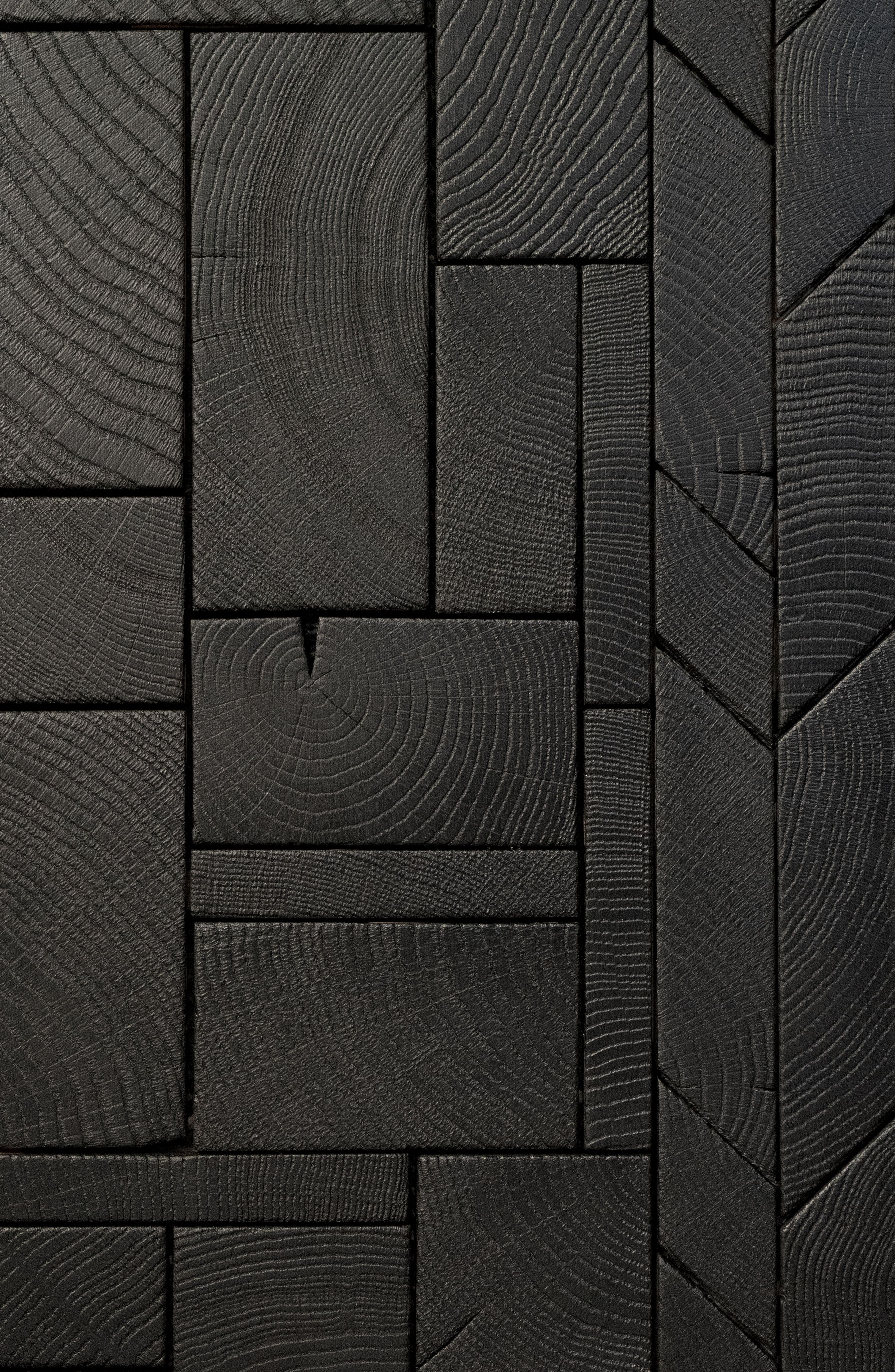 Foret Collection End Grain Flooring Burnt Wood Finish Charred Wood