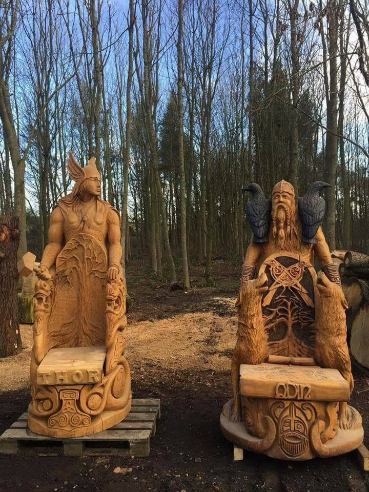 """thefabulousweirdtrotters: """"Chainsaw carved Thor and Odin"""