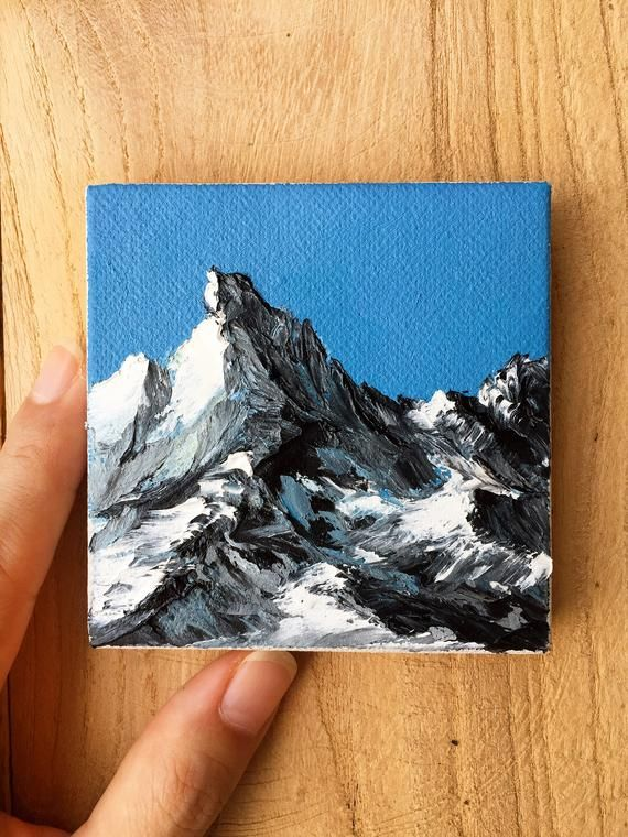 Small Canvas Art - Snow Mountain Oil Painting. Original Landscape. Winter Scenery. Mountains Wall Art. Small Painting on Canvas.