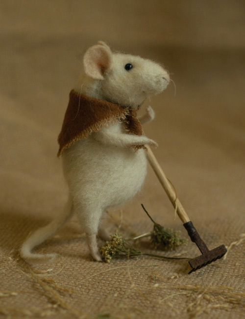 mouse with rake~Natasha Fadeeva