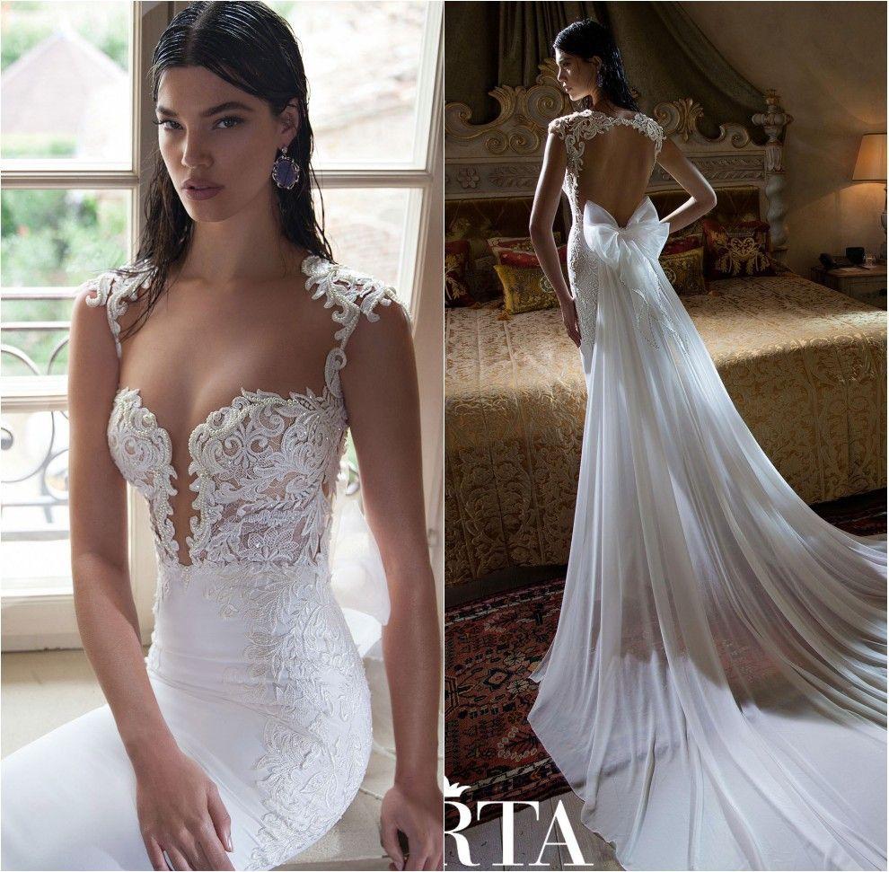 Simple Berta Vestido de Noivas Praia Sheer Lace Cap Sleeve Mermaid Wedding Dress Removeable Train Weddings Reception
