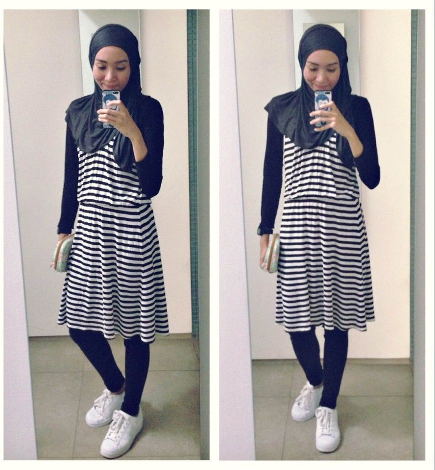 ootd. casual hijab outfit stripe dress, jeans, adidas superstar sneakers,  monochrome,
