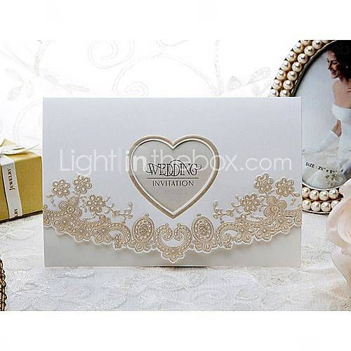 Royal Lace & Heart Cutout Embossed Wedding Invitation (Set of 50) gold