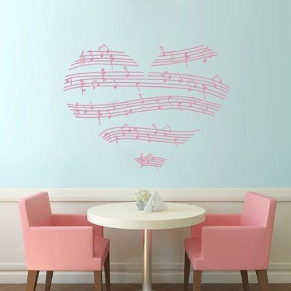 TGSIK DIY Pink Stripe Music Love Heart Wall Decals Musical Note Staff Design Vinyl Removable Stickers For Living Room Girls Rooms Bedroom