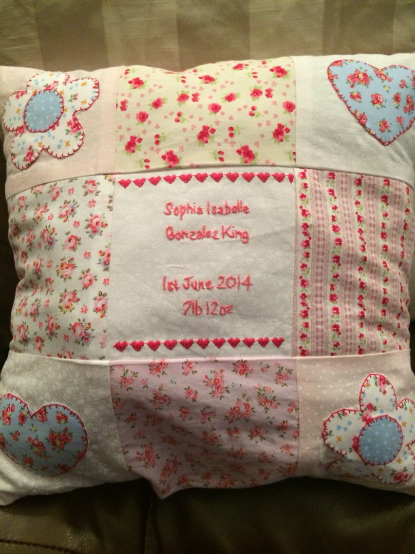 Hand Sewn Birth Celebration Cushion Made To Order And Hand