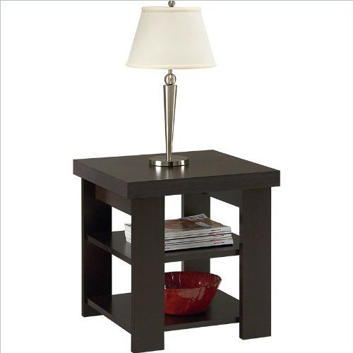 End Table with Shelves Affordable and Super Light Hollow Core Construction in Black Forest,  by Ameriwood  (5188012YCOM)  http://www.mytimehome.com/end-table-with-shelves-affordable-and-super-light-hollow-core-construction-in-black-forest-by-ameriwood-5188012ycom-2/