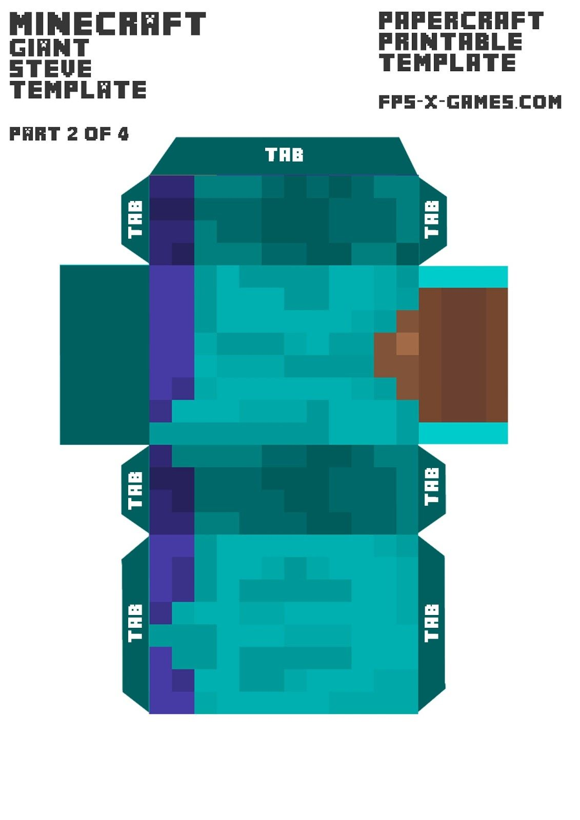 graphic regarding Minecraft Steve Printable known as Minecraft big Steve human body template 2-4 paper design and style Children