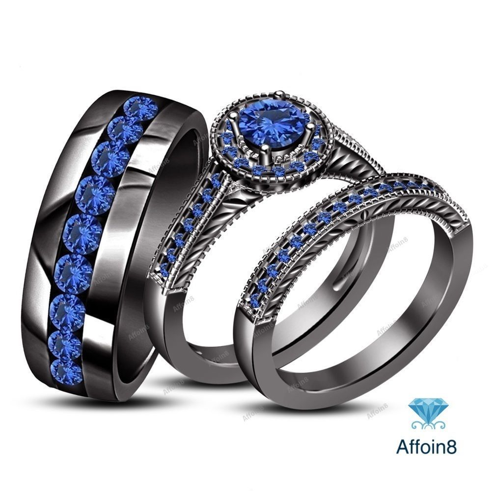 2.35Ctw Sapphire 10k Black Gold Finish Engagement His Her Trio Ring Bridal Set #Affoin8