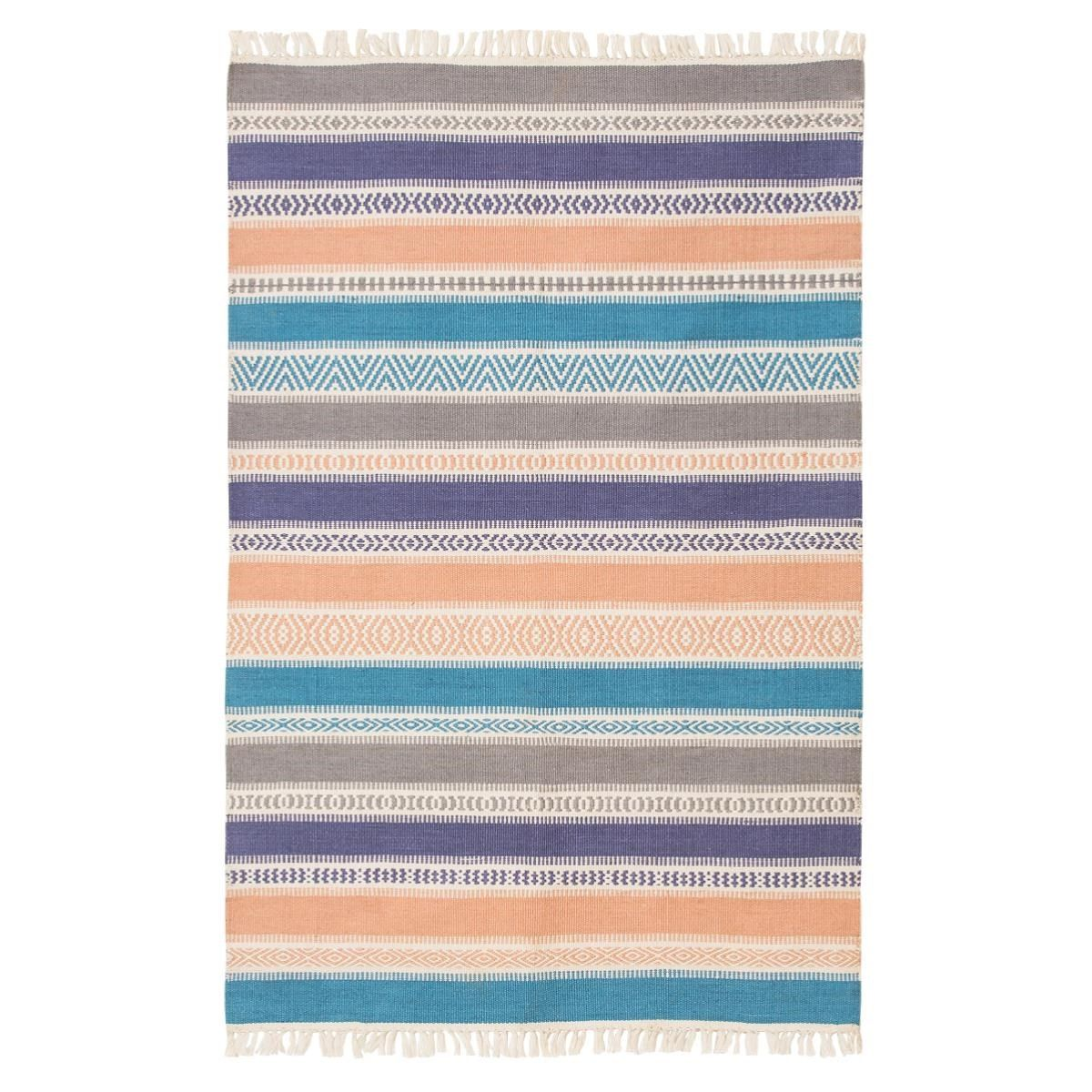 outdoor rug! Striped patio rug or mat for indoors or outdoors available in blue or terracotta, woven design. From recycled plastics, easy to wash. Fair Trade.
