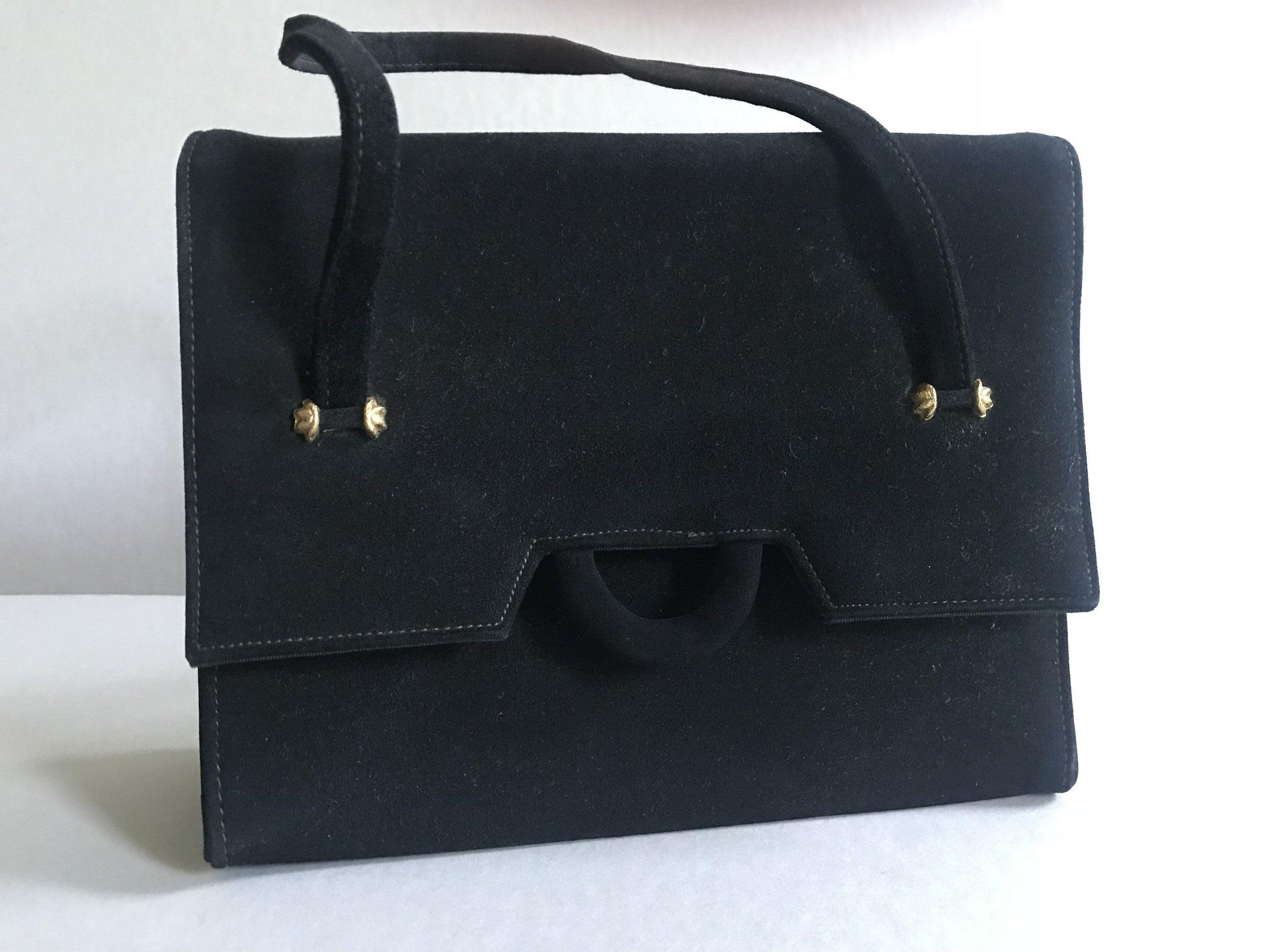 878311480ef0 BLOCK Handbag Black Velours Velvet Vintage Purse 1960s Accessory by  BROCANTEBedStuy on Etsy