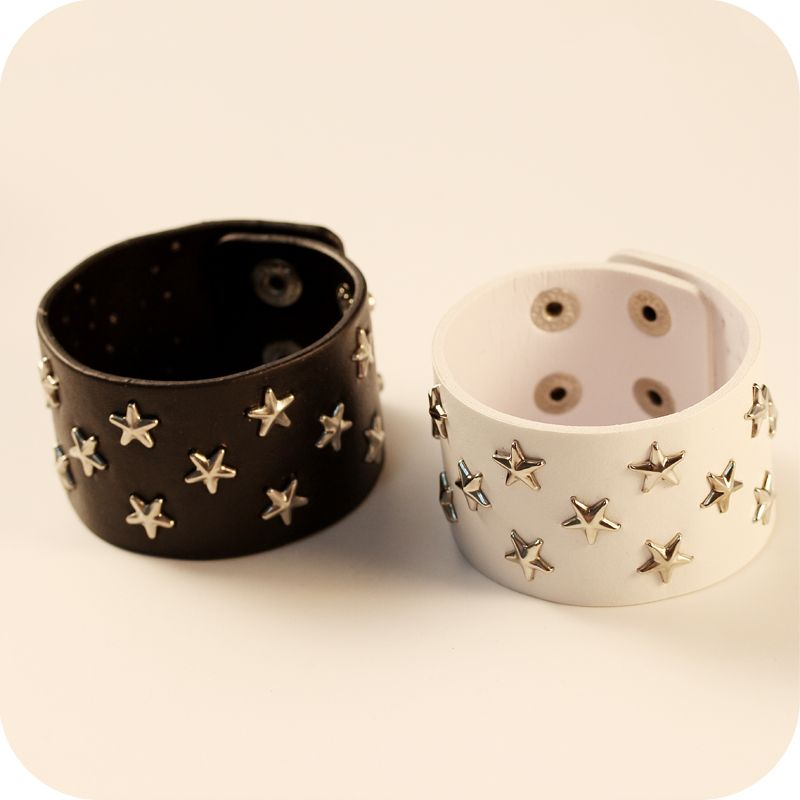 Punk Accessories Leather Five-pointed Star Rivet Bracelets