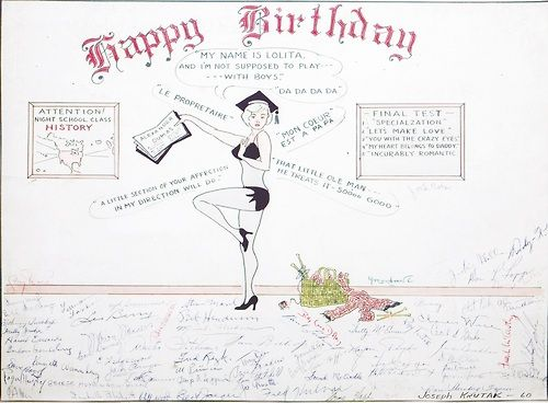 "Card Marilyn received on the set of ""Let's Make Love"" for her 34th birthday, 1960."