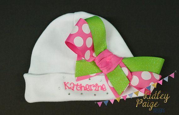 PERSONALIZED MONOGRAM CUSTOM Baby Newborn Hospital Hat Beanie Hot Pink Zebra Bow