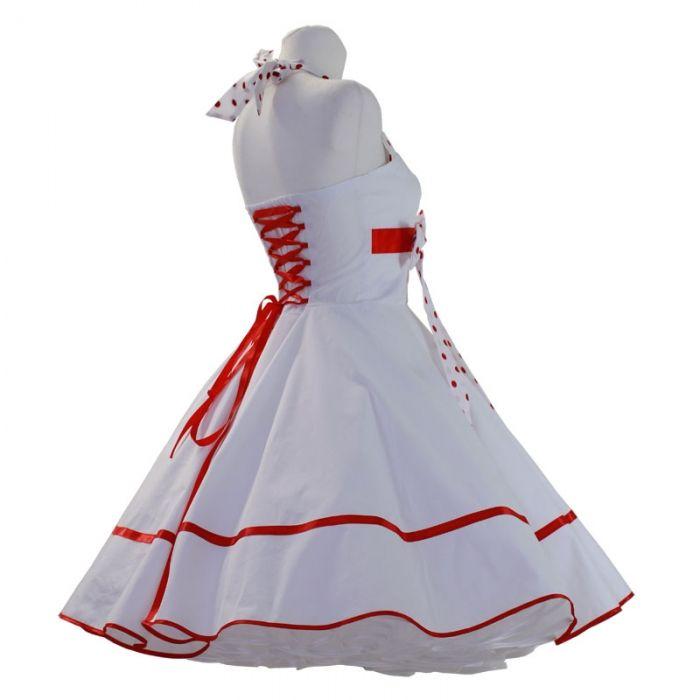 hochzeit petticoat kleid weiß rot  kleider