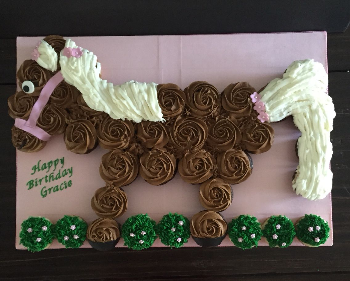 Horse pull a part cupcake cake