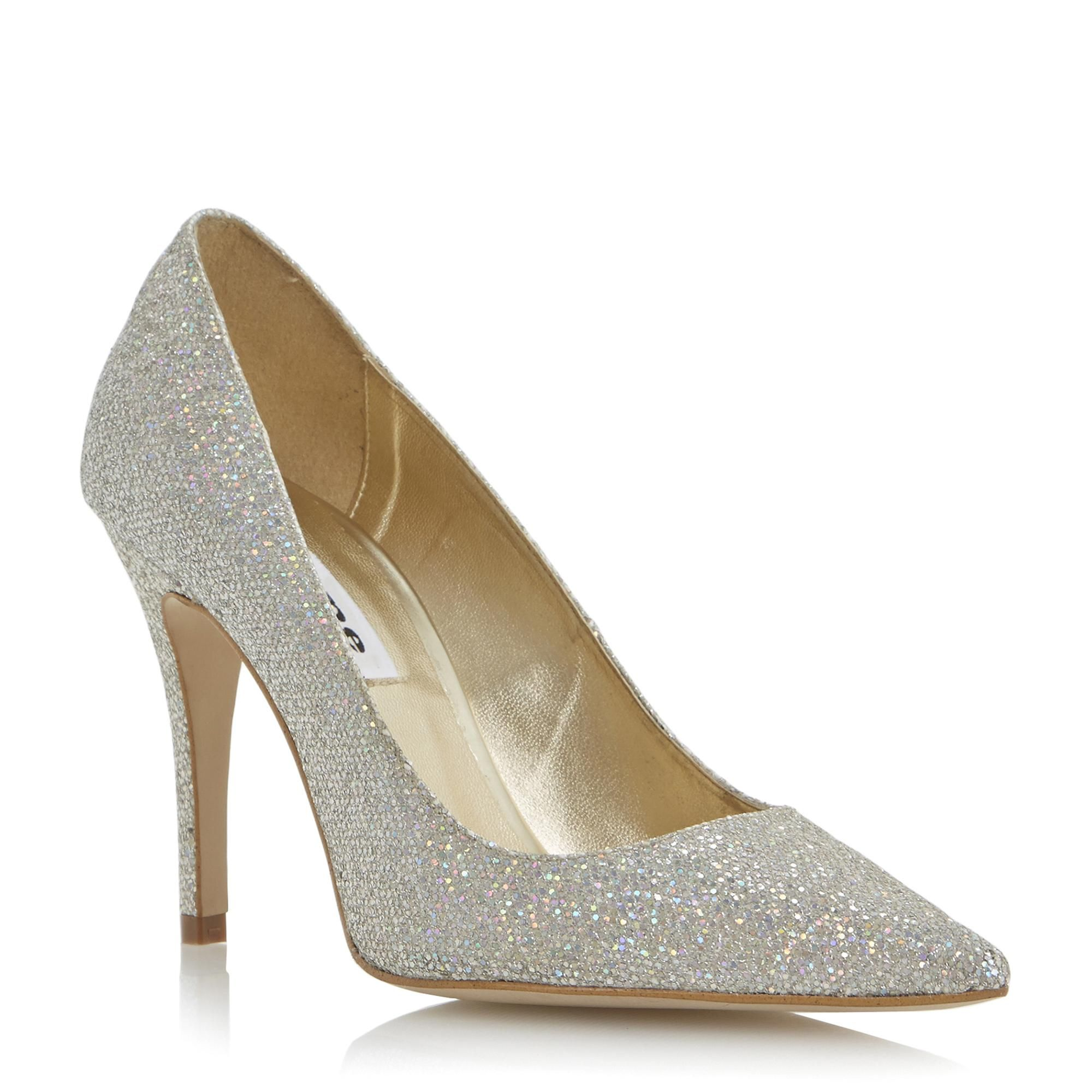cceb83aae9b8d3 DUNE LADIES BRANDI - Glitter Lurex High Heel Pointed Toe Court Shoe - gold