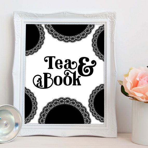 Tea and a book PRINTABLE art typography home by luxeprairie