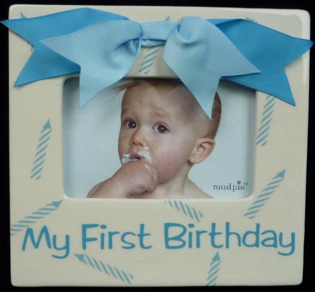 Blue First Birthday Frame | Birthday Frames for Babies | Pinterest ...