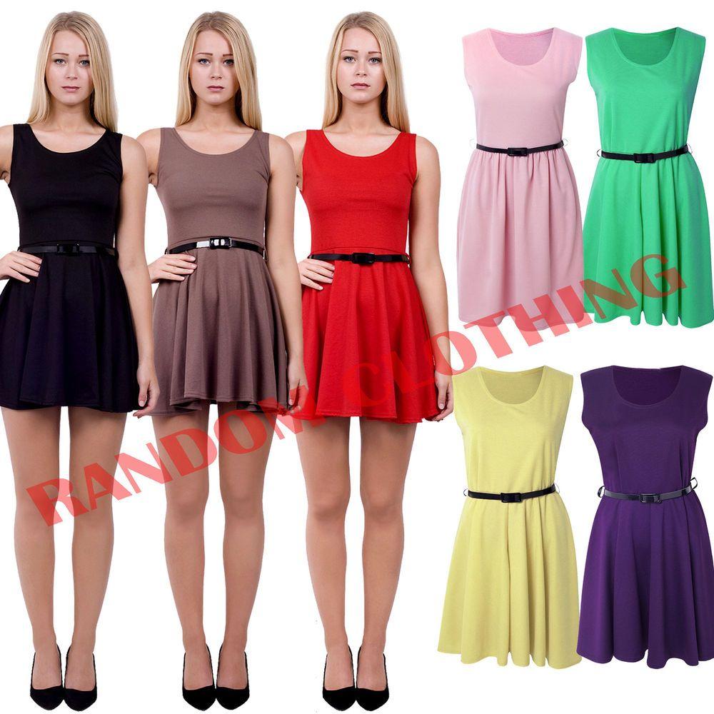 ac808fb2446 New Womens Plain Sleeveless Club Party Wear Flared Franki Belted Skater  Dress