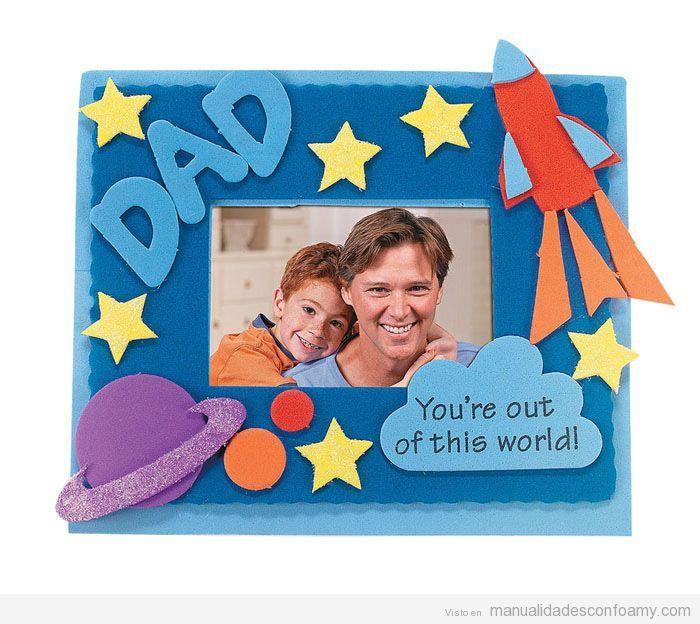 Manualidades goma eva día del padre, marco de fotos | fathers day ...