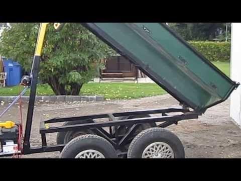 Two home made diy mechanical dump trailers dumping - YouTube