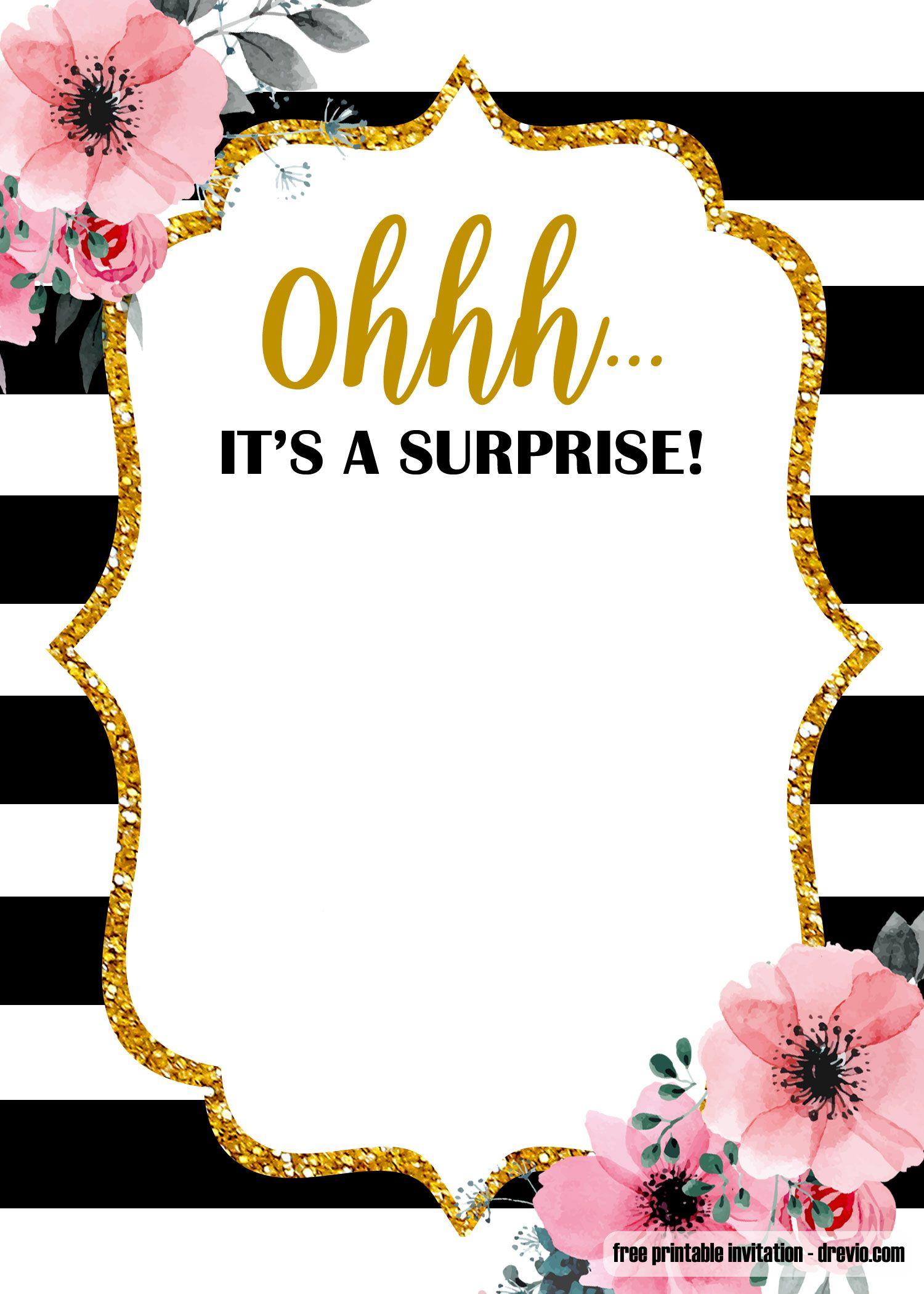 Free Surprise Glitter Gold Invitation Template