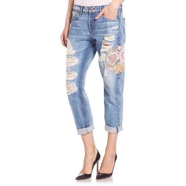 Tortoise Floral Embroidered Savanna Boyfriend Jeans ($240) ❤ liked on Polyvore featuring jeans, apparel & accessories, blue, distressed boyfriend jeans, distressed jeans, slim straight jeans, cropped jeans and boyfriend crop jeans