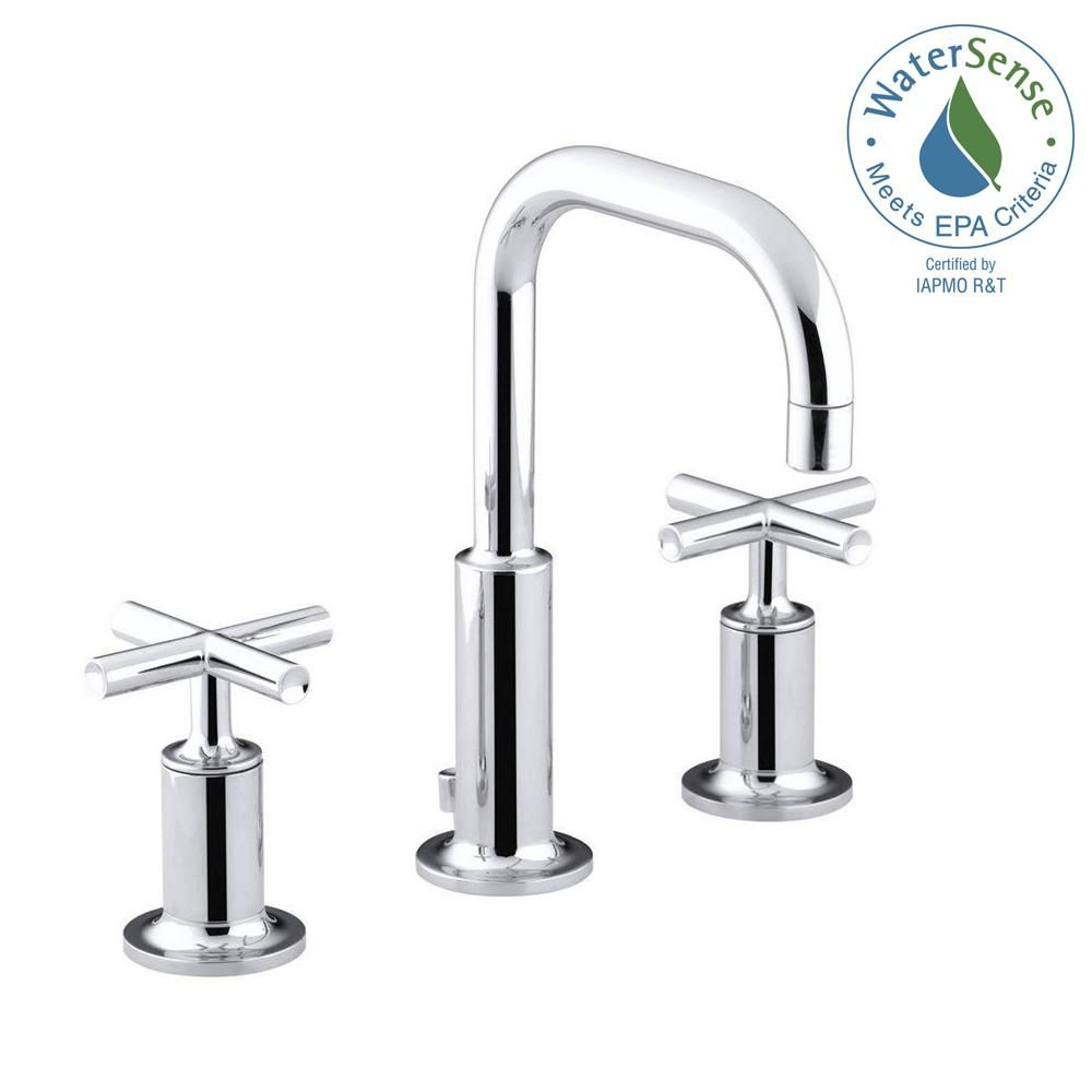KOHLER Purist 8 in. Widespread 2-Handle Bathroom Faucet in Polished ...