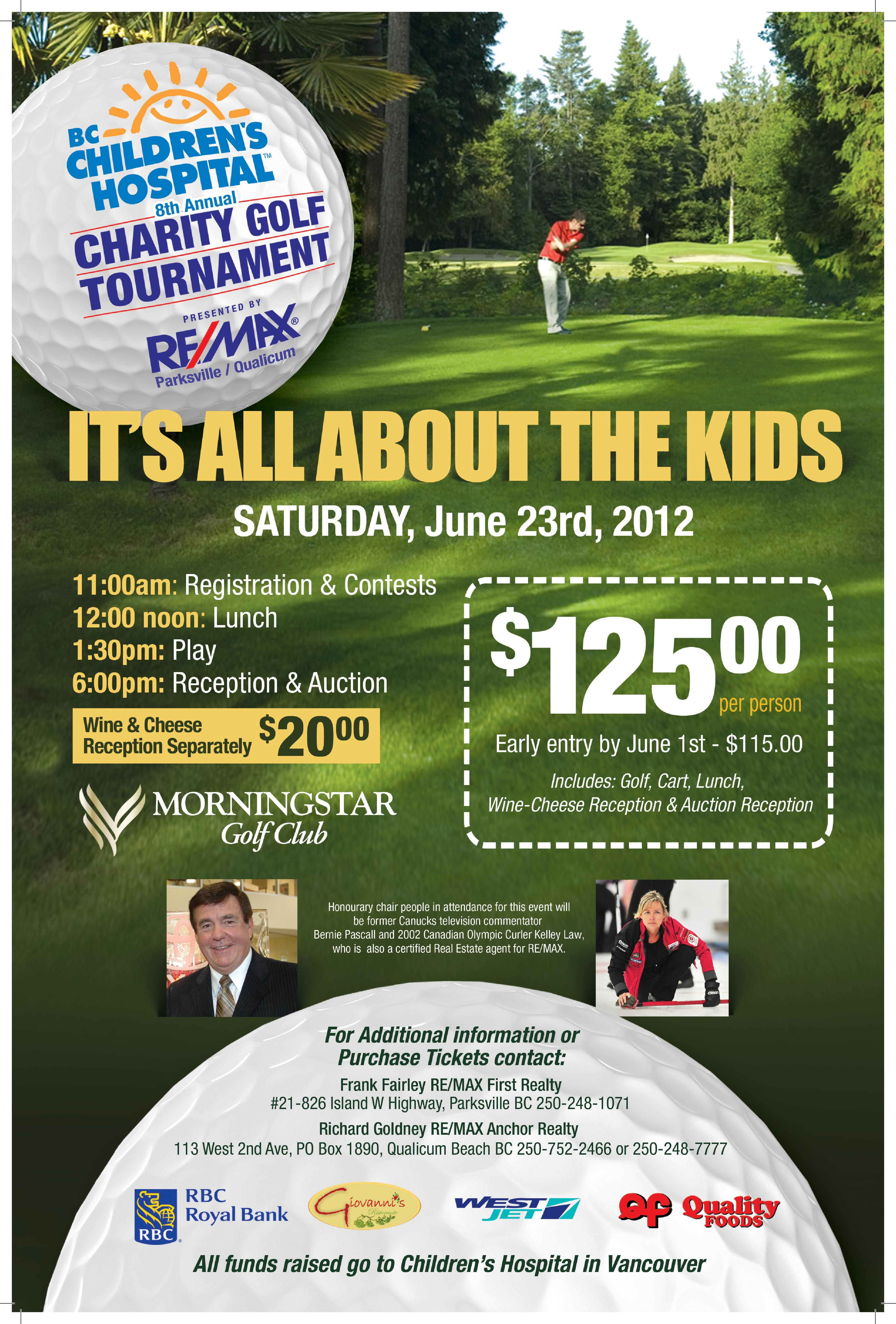 Bc Children' Hospital 8th Annual Charity Golf Tournament July Guest Day Stafford