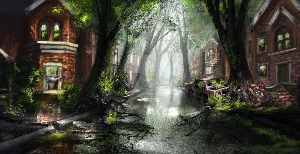 overgrown post apocalyptic cityscape - Google Search #overgrownaesthetic