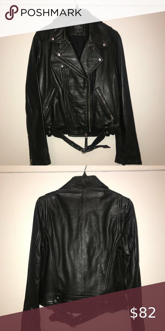 Zara Motorcycle Jacket In 2020 Faux Leather Motorcycle Jacket Jackets Zara
