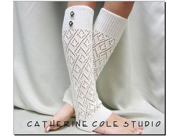 lace leg warmers ivory knit womens diamond by CatherineColeStudio