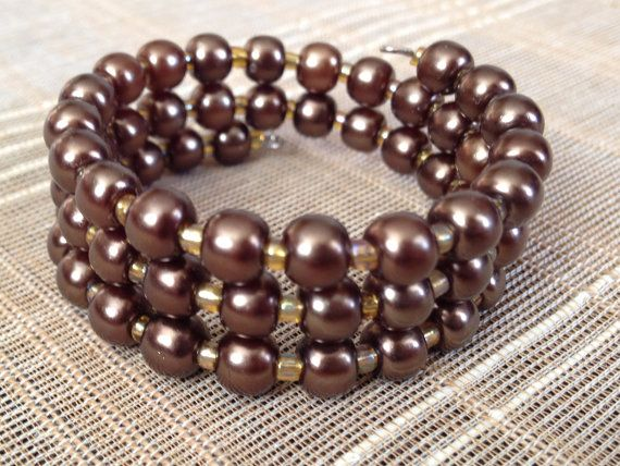Baby/Toddler Coil Bracelet in Brown Pearls by PeacocksandLeopards, $8.00