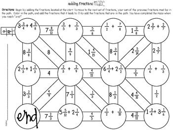5e7110ebad0cd9f1938f68f3165654af adding fractions maze fractions, maze and adding fractions on 6th grade math ratios and rates worksheets