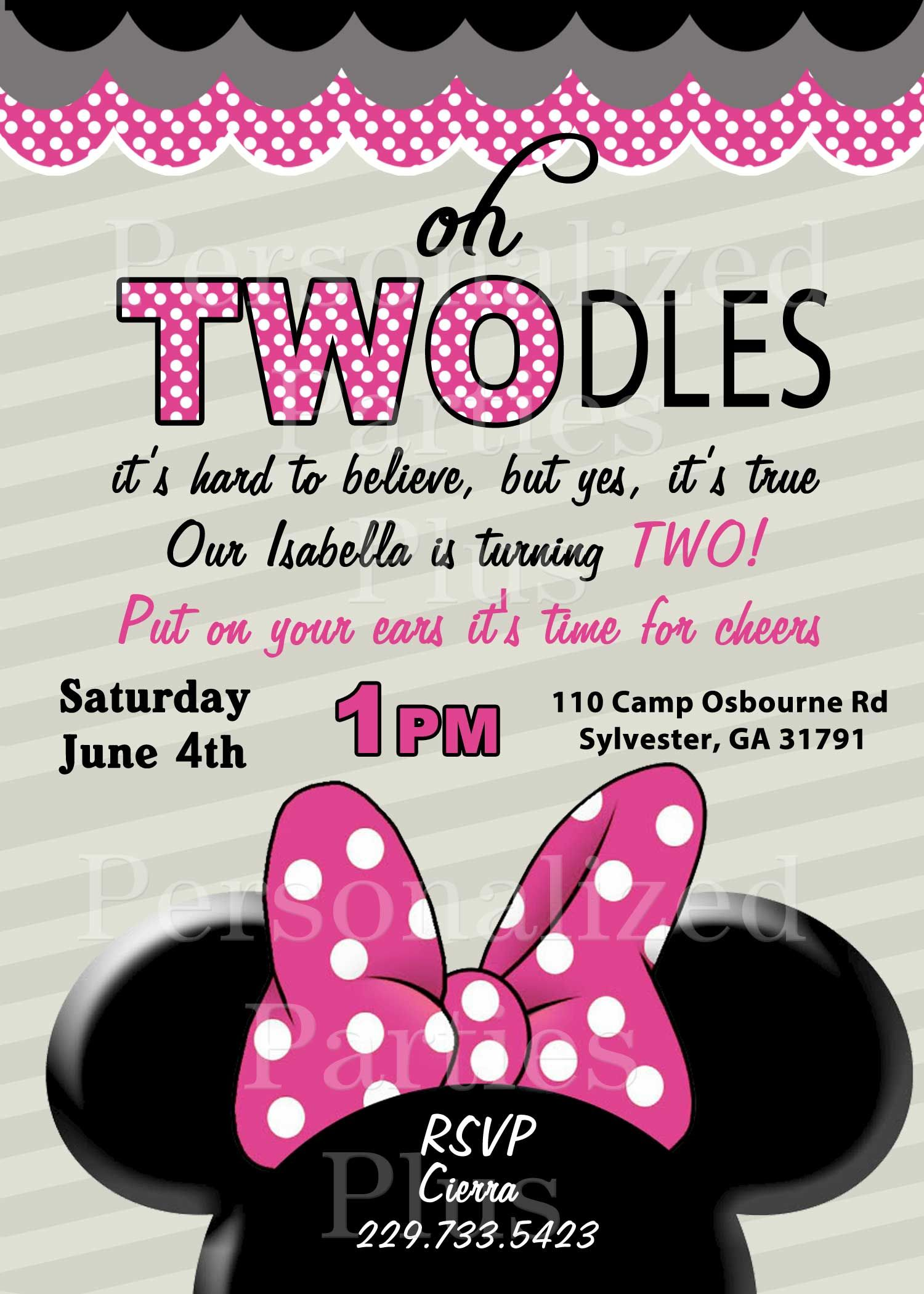 Minnie Mouse 2nd birthday invitations   Minnie mouse, Mice and Birthdays