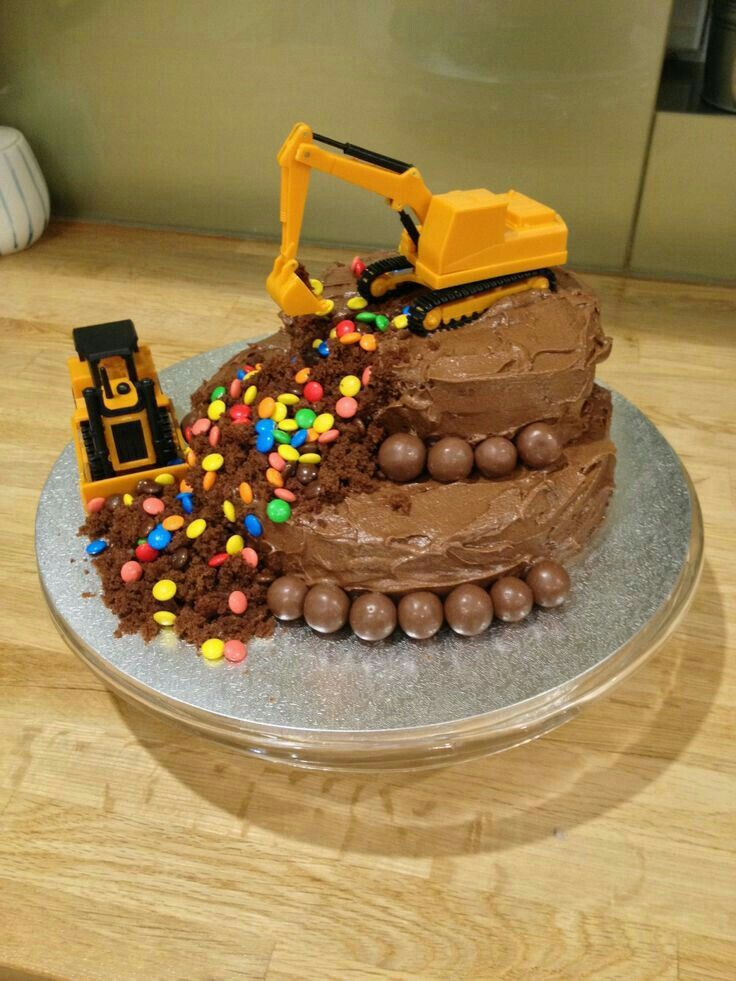 Marvelous Excavator Cake For Kids Simple Birthday Cake 2 Year Old Funny Birthday Cards Online Fluifree Goldxyz