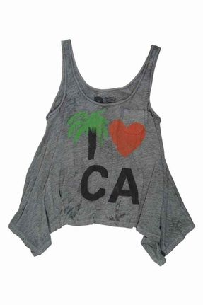 Rebel Yell I ♥ CA Hankie Tank in Heather Grey