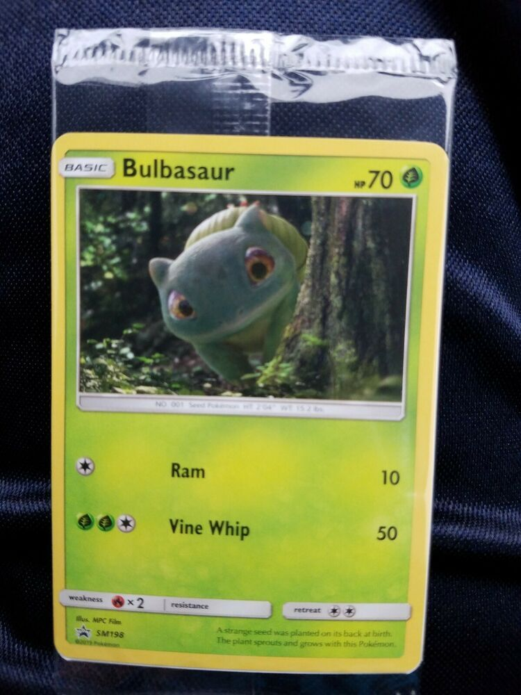 Bulbasaur Promo Holo Pokemon Detective Pikachu SM198 Black Star Sealed 2019 VHTF