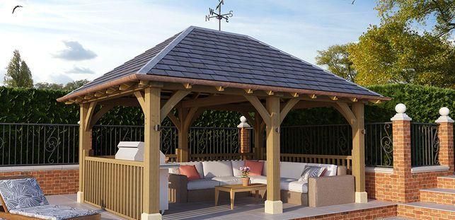 Large Gazebo With Slate Roof Gl008 Radnor Oak Oak Gazebo