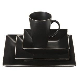black dinnerware sets for 8 | Home Black Square 16-pc. Dinnerware Set review  sc 1 st  Pinterest & black dinnerware sets for 8 | Home Black Square 16-pc. Dinnerware ...