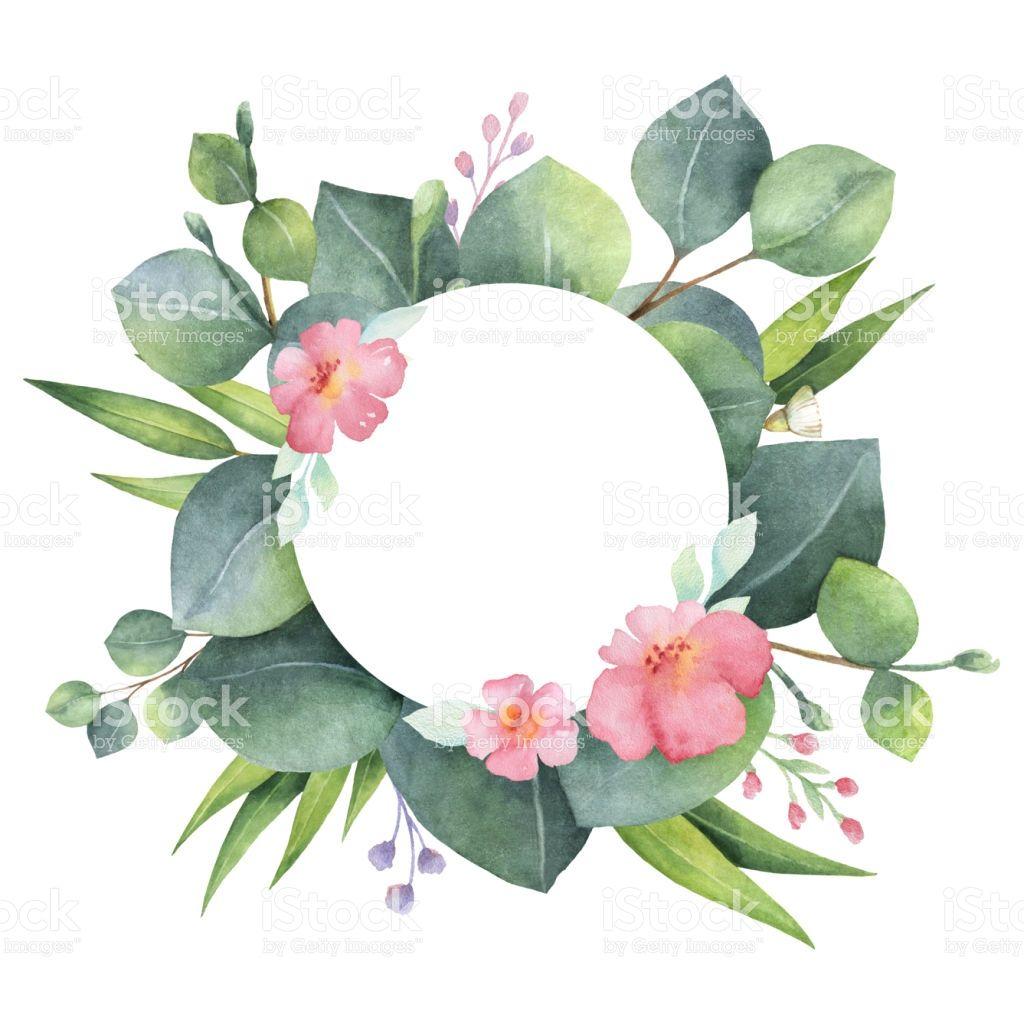 Photo of Ghirlanda rotonda dipinta a mano ad acquerello con eucalipto e …