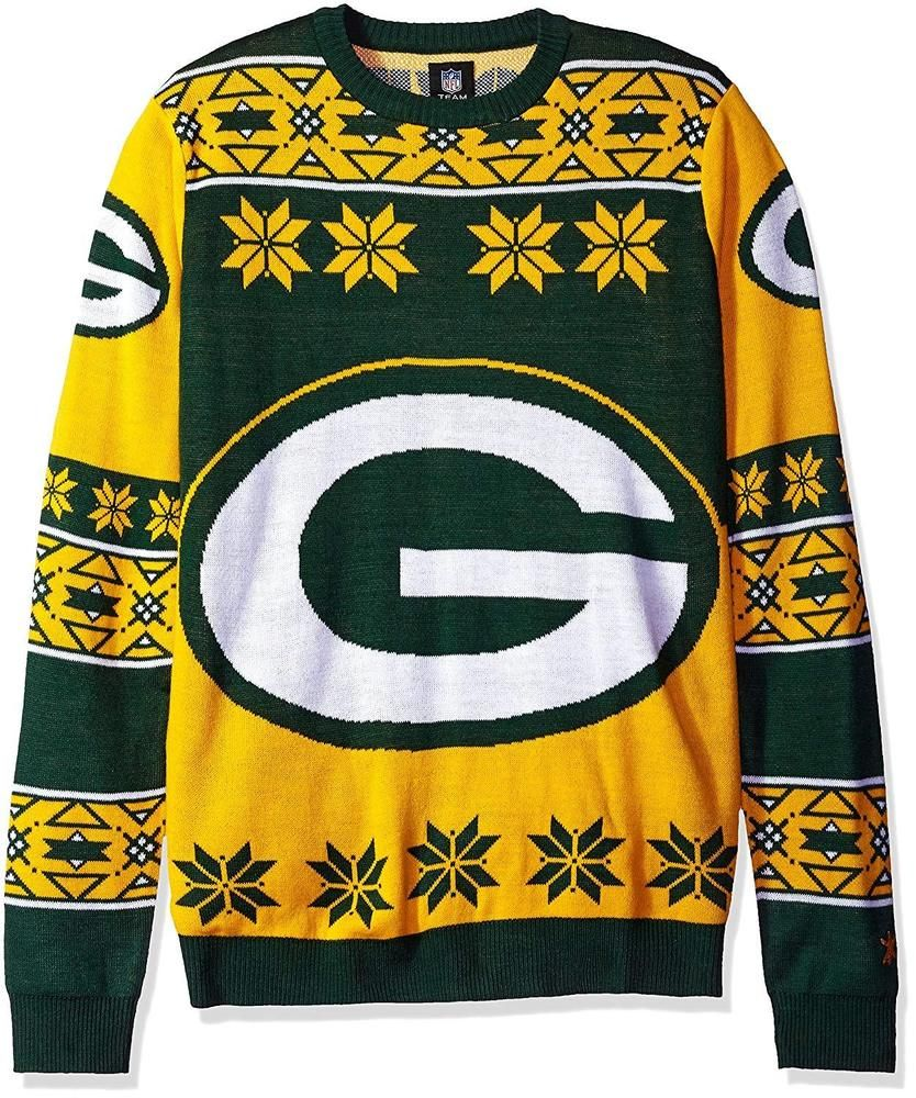 New Adult Men s Medium Big Logo Ugly Christmas Sweater Crewneck Sweatshirt  Green Bay Packers Gold Yellow Snowflake Patch Work Wisconsin Sports Team  Fan ... f1d1f319f