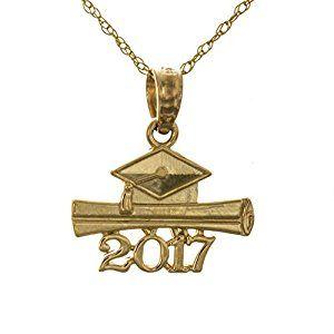 14K Yellow Gold 2019 Diploma And Graduation Cap Charm Pendant